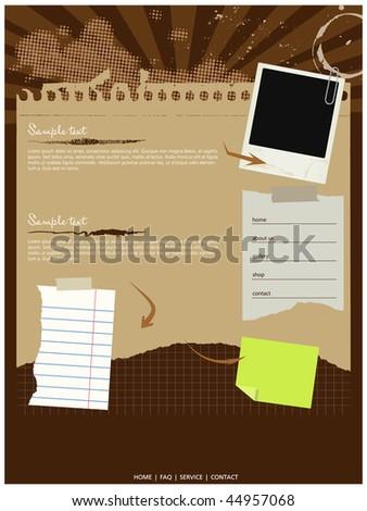 Grungy website template,vector,elements editable - stock vector
