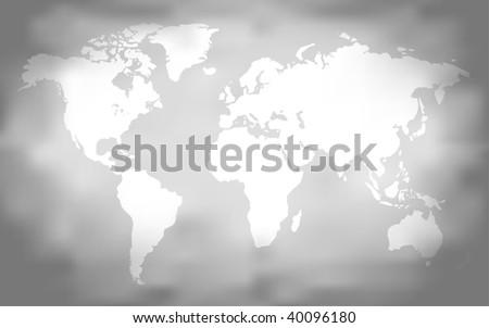 Grungy World Map (Vector) - stock vector