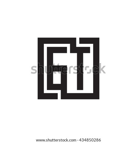 GT initial letters looping linked square monogram logo