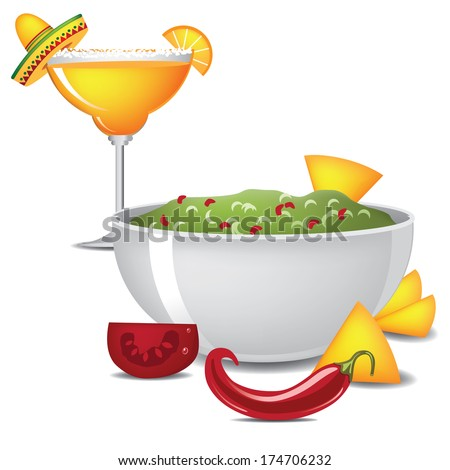 Guacamole and margarita with sombrero, jalape�±o and maracas EPS 10 vector, grouped for easy editing. No open shapes or paths. - stock vector