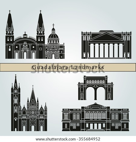 Guadalajara landmarks and monuments isolated on blue background in editable vector file - stock vector