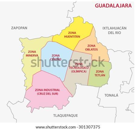Guadalajara Mexico Administrative Map Stock Vector 301307375