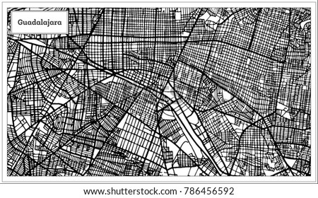 Guadalajara Mexico City Map Black White Stock Vector 786456592