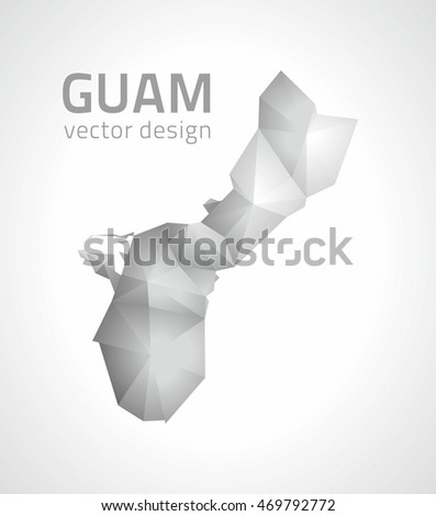 Guam vector polygonal modern grey and silver map of America