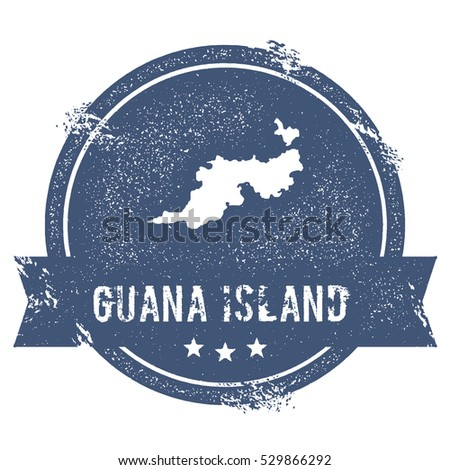 Guana island mark travel rubber stamp with the name and map of guana island