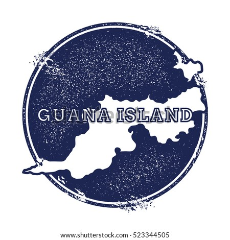 Guana island vector map grunge rubber stamp with the name and map of island