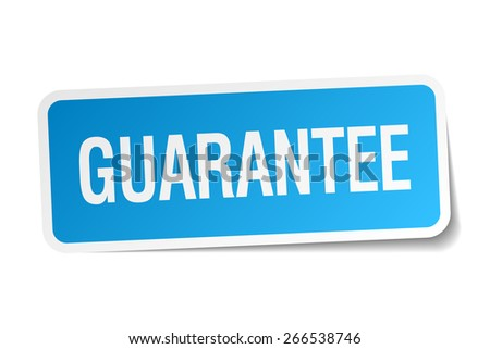 guarantee blue square sticker isolated on white