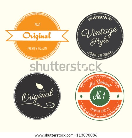 guarantee labels vintage style - stock vector