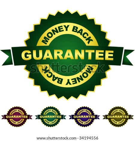 Guarantee money back. Vector set. - stock vector