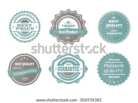 Guarantee, premium quality and best choice vector vintage retro blue badges