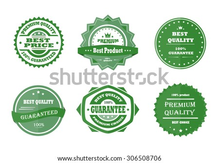 Guarantee, premium quality and best choice vector vintage retro green badges - stock vector