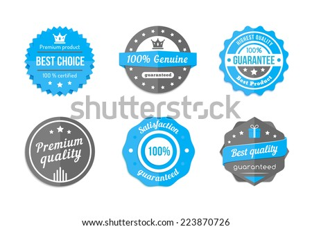 Guarantee, quality and best choice vector vintage blue badges - stock vector