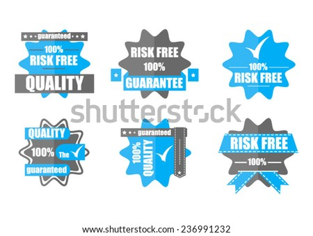 Guarantee, quality and the best vector year of production of wine of a choice blue two-color badges - stock vector
