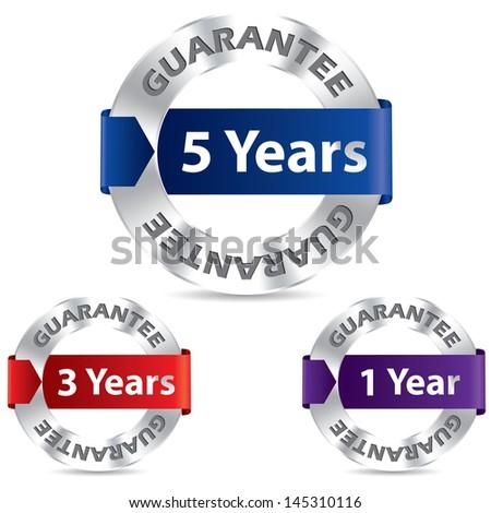 Guarantee seal designs with metal and ribbon - stock vector