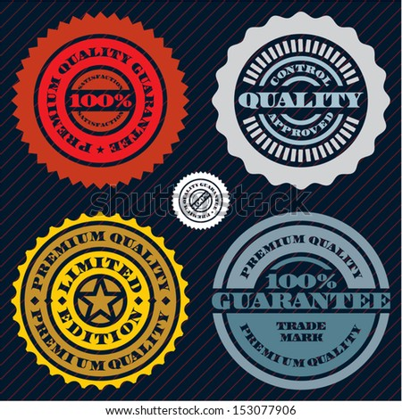 Guarantee stamp set. Premium quality guarantee sign. 100 percent guarantee.  - stock vector