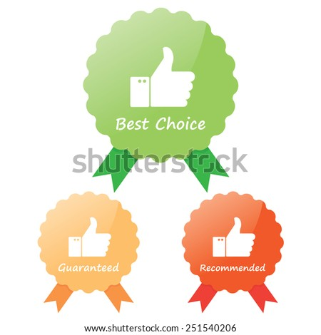 Guaranteed, best choice and recommended Labels - stock vector