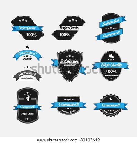 Guaranteed labels with retro design - stock vector