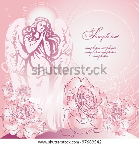 Guardian Angel of pink roses - stock vector