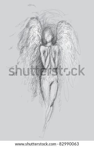 Guardian Angel / Vector Sketch - stock vector