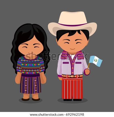 Guatemalans National Dress Flag Man Woman Stock Vector
