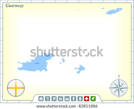 Guernsey Map with Flag Buttons and Assistance & Activates Icons Original Illustration - stock vector