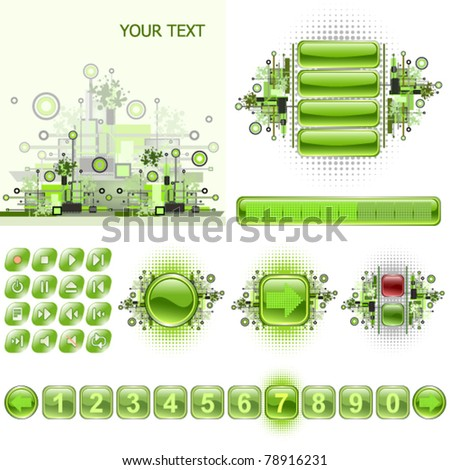 GUI widgets and web design elements set. - stock vector