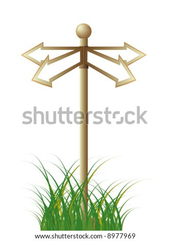Guide sign among a grass - stock vector
