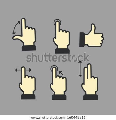 Guide with basic gestures to work with modern gadgets - stock vector