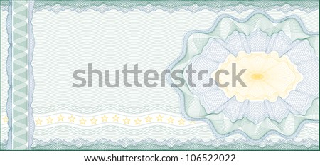Guilloche Background for Voucher, Gift Certificate, Coupon or Banknote /  layers are included for easy editing - stock vector