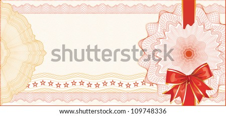 Guilloche Background with Red Bow for Gift Certificate / Vector - stock vector