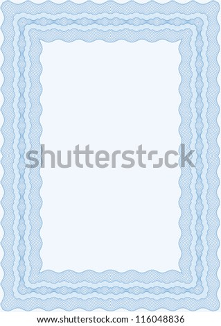 Guilloche blue vector frame for diploma or certificate