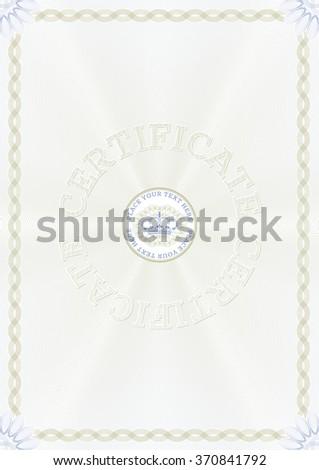 Guilloche certificate template - stock vector