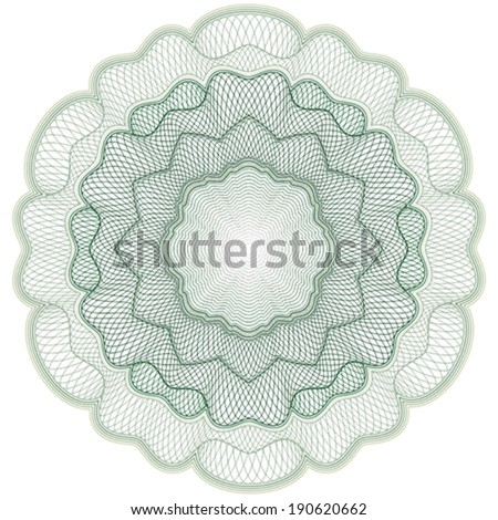 Guilloche rosette element for certificate, diploma, voucher, currency and money design, banknote. / Stock vector / CMYK color / All lines and color are easy editable. - stock vector