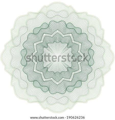 Guilloche rosette for certificate, diploma, voucher, currency and money design, banknote. / Stock vector / CMYK color / All lines and color are easy editable. - stock vector