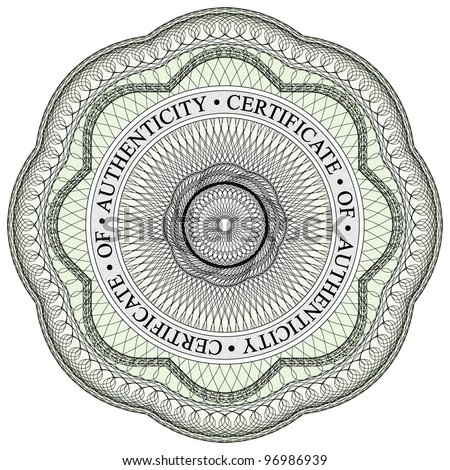 Guilloche seal 1 circular text stating stock photo photo vector guilloche seal 1 with circular text stating certificate of authenticity yadclub Images