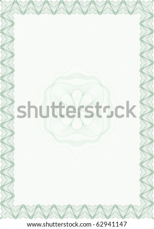 Guilloche style blank form for diploma or certificate - stock vector