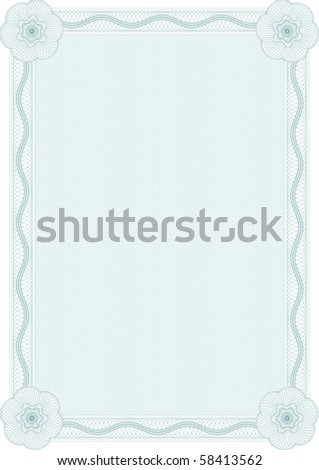 Guilloche style form for diploma or certificate - stock vector