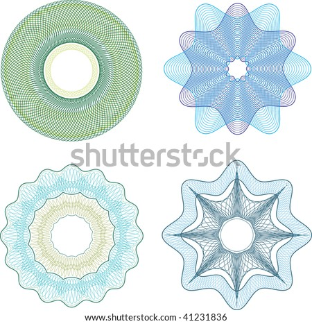 Guilloche vector elements for diploma or sertificate. - stock vector