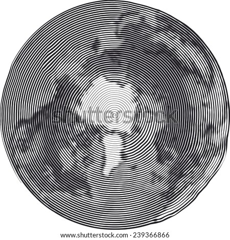 Guilloche Vector Illustration of North Pole Uzumaki style - stock vector