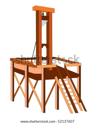 Guillotine - the horrible device of torture invented in France, isolated on white background - stock vector