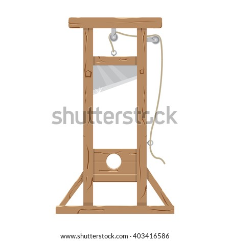 Guillotine vector illustration. Guillotine with a raised knife. Tool to perform executions. Guillotine isolated on a white background. - stock vector