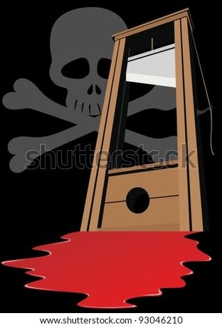 Guillotine with a raised knife. Tool to perform executions. The illustration on a black background. - stock vector
