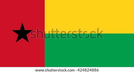 Guinea Bissau flag, official colors and proportion correctly. National Guinea Bissau flag. Guinea Bissau flag vector. Guinea Bissau flag correct. Guinea Bissau flag drawing. Guinea Bissau flag EPS. - stock vector