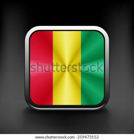 Guinea icon flag national travel icon country symbol button. - stock vector
