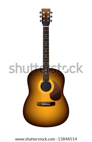 guitar acoustic of orange colour on a white background