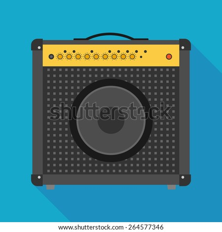 guitar amplifier icon with long shadow. flat style vector illustration - stock vector