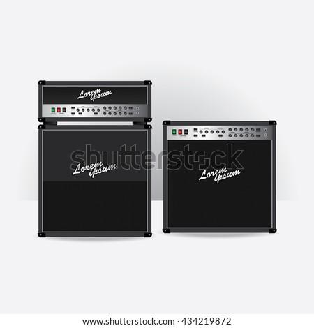 Guitar amplifier set vector illustration - stock vector