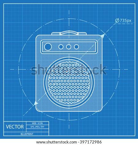 guitar amplifier vector blueprint icon - stock vector