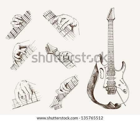 guitar and chords. set of vector sketches - stock vector