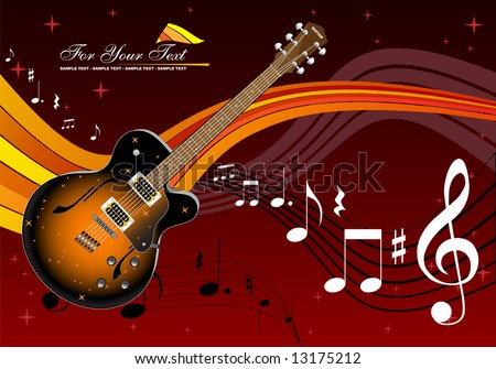 Guitar and music - stock vector